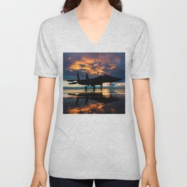 Fighter Jet Airplane at Sunset Military Gifts Unisex V-Neck