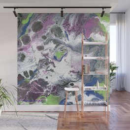 Purple and Green Abstract Wall Mural