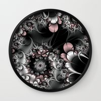 novelty Wall Clocks featuring Widow's Web Fractal by Moody Muse