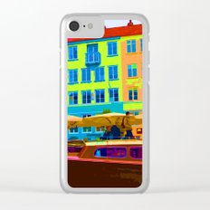Harbour side Denmark Nyhavn Dayglo Print Clear iPhone Case