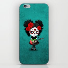 Day of the Dead Girl Playing UAE Flag Guitar iPhone Skin