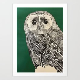 Buho verde Art Print