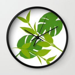 Simply Tropical Leaves with White background Wall Clock