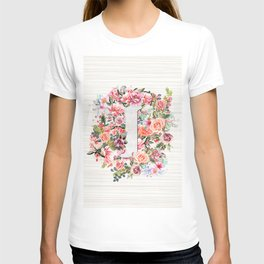 Initial Letter I Watercolor Flower T-shirt