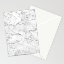 Gray & White Faux Marbles Texture Stationery Cards