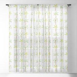 Tropical Tree Print Sheer Curtain