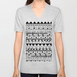 Hand painted black white watercolor aztec pattern Unisex V-Neck