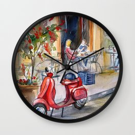 Red moped on the street of Paris Wall Clock