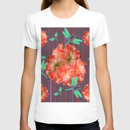 Green Dragonflies Pink Flower Ball Art T-shirt