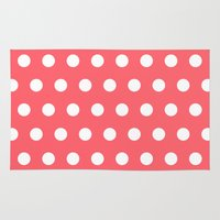 polka dot Area & Throw Rugs featuring Polka Dot Coral by Beautiful Homes