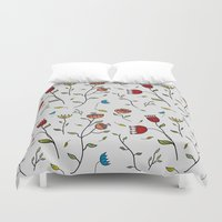 spice Duvet Covers featuring Floral Spice by Itaya Art
