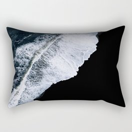 Waves crashing on a black sand beach – minimalist Landscape Photography Rectangular Pillow
