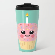 Happy Pixel Cupcake Metal Travel Mug