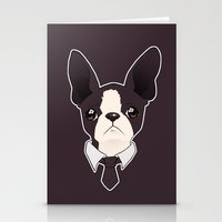 boston terrier Stationery Cards featuring Boston Terrier by brit eddy