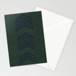 Zora's Chevron - Navy on green Stationery Cards