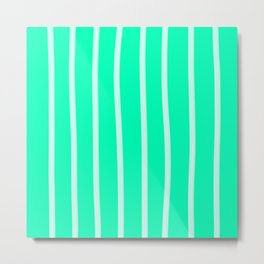 Mint Vertical Brush Strokes Metal Print