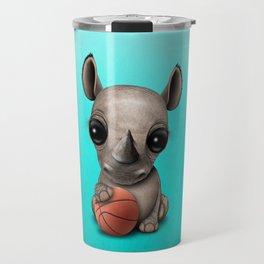 Cute Baby Rhino Playing With Basketball Travel Mug