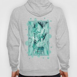 Dove With Celtic Peace Text In Aqua Tones Hoody
