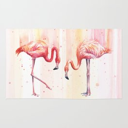 Two Flamingos Watercolor Tropical Birds Animals Rug