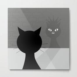 Black cat looks at his shadow #society6 #decor #buyart #artprint Metal Print