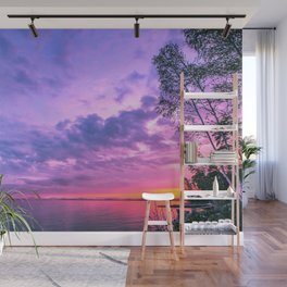 Day fading into the lake Wall Mural