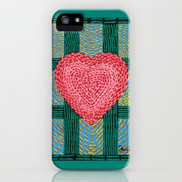 Teal and Pink Energy Heart iPhone Case