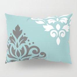 Scroll Damask Art I Gray White Teal Pillow Sham