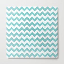 Aqua Chevron Pattern Metal Print
