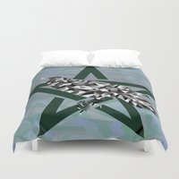 pagan Duvet Covers featuring Mosaic Crow and Pentacle  by Watch House Design