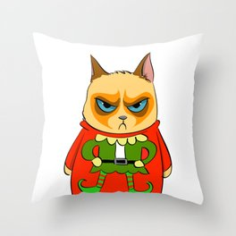 Ginger Cat in Holiday Sweater 05 Throw Pillow