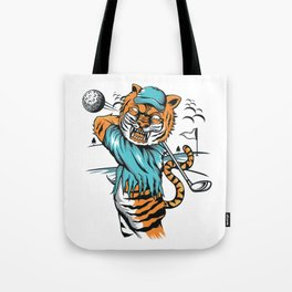 Tiger golfer WITH cap Tote Bag