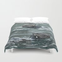 otters Duvet Covers featuring Crustacean Dinner by Alaskan Momma Bear