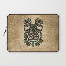 Teal Blue and Black Haida Spirit Tree Frog Laptop Sleeve