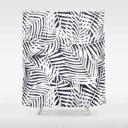 Tropical Grey Leaves Shower Curtain