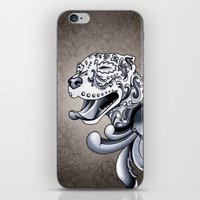pit bull iPhone & iPod Skins featuring Ornamental Pit Bull by Pretty In Ink
