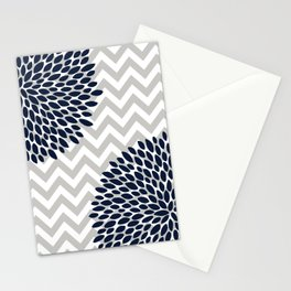 Chevron Floral Modern Navy and Grey Stationery Cards
