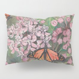 Monarch Butterfly and Milkweed Flowers Pillow Sham