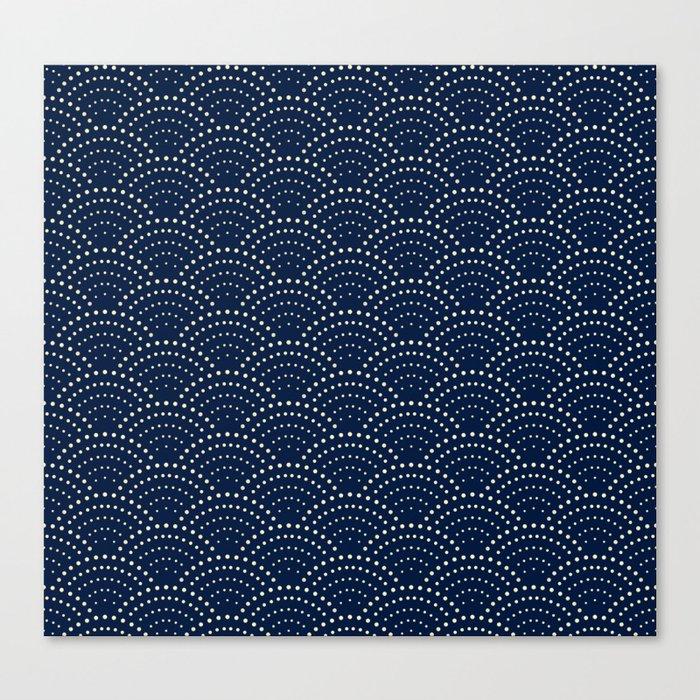 Japanese Blue Wave Seigaiha Indigo Super Moon Pattern Leinwanddruck