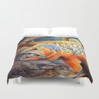 trout Duvet Covers featuring Tiger Trout by GetTAMArt