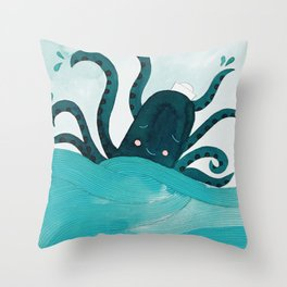 octopus in the sea with seagull watercolor illustration Throw Pillow