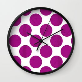 Fuchsia Polka Dot Wall Clock