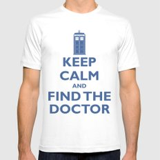 Keep Calm And Find The Doctor White Mens Fitted Tee SMALL