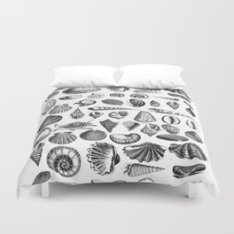 Vintage Sea Shell Drawing Black And White Duvet Cover