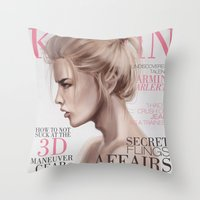 snk Throw Pillows featuring SnK Magazine: Armin by emametlo