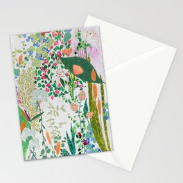 Painterly Floral Jungle on Pink and White Stationery Cards