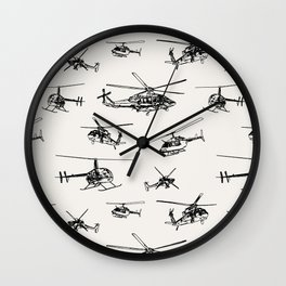 Helicopters on Linen White Wall Clock