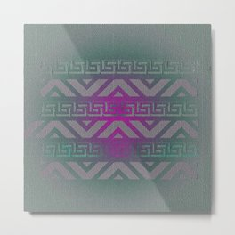 """Hot Pink, Teal and Gradient Chevron Pattern Metal Print"