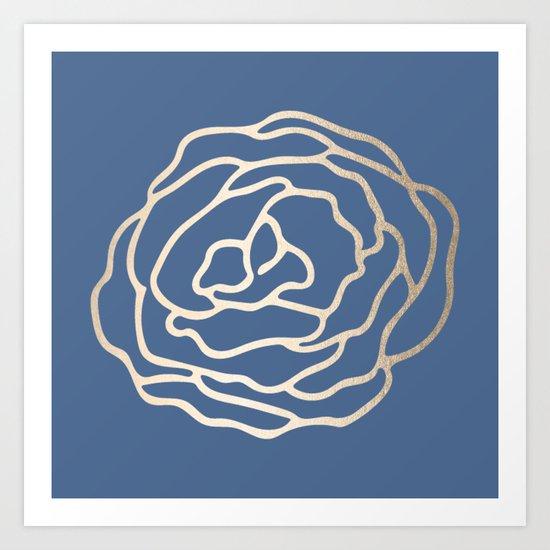 Flower in White Gold Sands on Aegean Blue Art Print