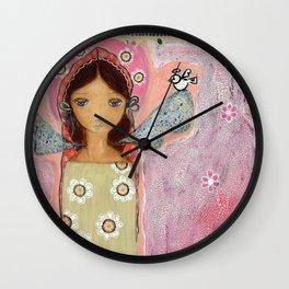 Angel with Little Bird Wall Clock