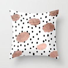 Modern rose gold clouds black rain polka dots pattern Throw Pillow